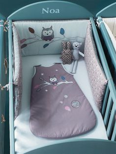 Tour de lit b b brod chambre hou le hibou fond gris for Vertbaudet chambre bebe