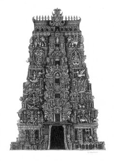 Illustration of a temple with ancient Hindu architectural influence. Indian Temple Architecture, Ancient Architecture, Art And Architecture, Cultural Architecture, Architecture Sketchbook, Art Sketchbook, Temple India, Hindu Temple, Temple Drawing