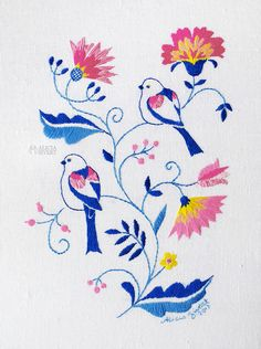"""Stjärtmesar i Blekingesöm"", long tailed tits embroidery by Alicia Sivertsson. Scandinavian Embroidery, Swedish Embroidery, Folk Embroidery, Cross Stitch Embroidery, Embroidery Patterns, Yarn Crafts, Diy And Crafts, Cross Stitch Love, Textile Art"