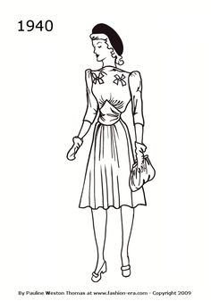 1940-bow--v-waist-wartime-dress-1000.jpg (700×1000)