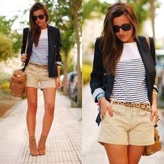 Conseils de mode, comment porter sa manière en été, créer des looks avec le t shirt rayé bleu et blanc de style marin tendance et mode.