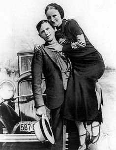 Notorious outlaws Bonnie Parker and Clyde Barrow (above) were shot to   death by Texas and Louisiana state police while driving a stolen car near   Sailes, Louisiana on May 23, 1934.