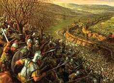 Roman cavalry counter attacks a Celtic force which is attacking the Romans that are laying siege to the Gaulic city of Alesia.