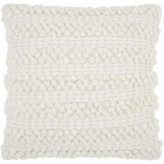 Mina Victory Lifestyle Woven Stripes White Throw Pillow by Nourison (20 x 20-inch)