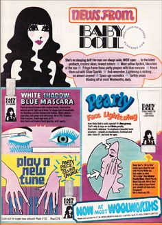 Woolworth's Baby Doll cosmetics ad, Vintage Makeup Ads, Retro Makeup, Vintage Ads, Vintage Beauty, Vintage Stuff, Retro Ads, Vintage Advertisements, Baby Doll Makeup, E Cosmetics