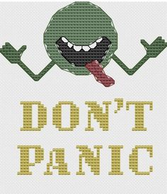 Don't Panic cross stitch pattern douglas adams by pickleladyfarm, $4.00 - I think I'll put this on the front of my kindle case, when I get around to making that.