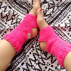 "Hand Knit ヨガソックス ""Mahana"" neon pink アンクルウォーマー 手編み"