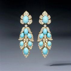 turquoise and diamond earrings  by Van Cleef & Arpels, circa 1966