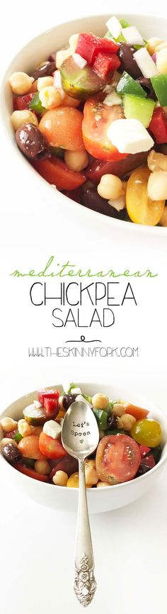 When life gives you lemons, make this Mediterranean Chickpea Salad! Garbanzo beans, tomatoes, feta, bell peppers and so much more is tossed together in lemon juice and EVOO. TheSkinnyFork.com   Skinny & Healthy Recipes