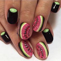 Dark watermelon nails