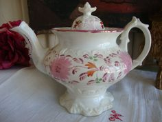 Stunning Large C19th Antique English Lustreware Teapot....Very pretty teapot... perfect for afternoon tea with your girlfriends.