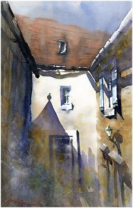 shady little courtyard by Thomas W. Schaller Watercolor ~ 22 inches x 14 inches