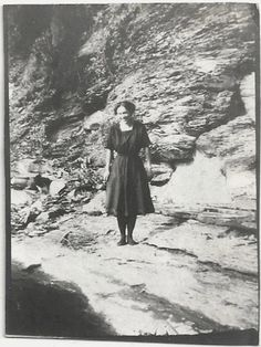 Old Photo Woman wearing Swimsuit Rocky Beach Area by girlcatdesign