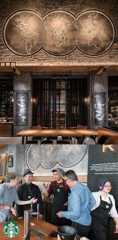 This newest Starbucks store, located in New York City's Lower Manhattan district, not only blends the Reserve experience with the existing vintage structure of the building, it also offers a laid-back lounge feel that is home to a warm, wood slat ceiling, film reels and camera props, in addition to a giant map of the coffee belt and various growing regions.