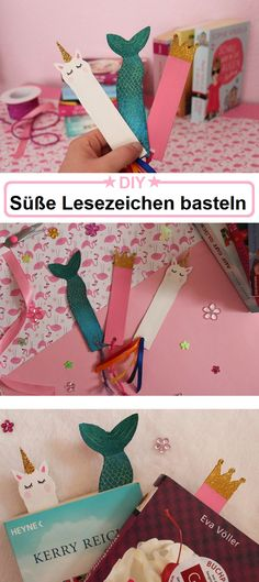 DIY - tinker cute bookmarks - last minute gift idea-DIY – Süße Lesezeichen basteln – Last Minute Geschenk Idee I& show you how you can easily make such cute bookmarks yourself. Ideal as a last minute DIY gift idea. Unicorn, Mermaid and Princess DIY. Diy Gifts For Kids, Christmas Crafts For Kids, Christmas Diy, Kids Diy, Halloween Crafts, Holiday Crafts, Diy Marque Page, Monster Bookmark, Homemade Bookmarks