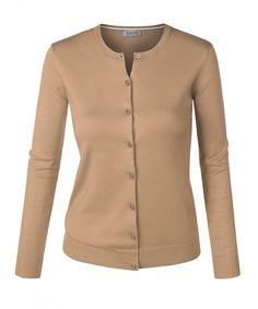 Women Round Neck Button Down Soft Classic Knit Cardigan Sweater Khaki  Medium - C0125FGW9UJ d74f424b0
