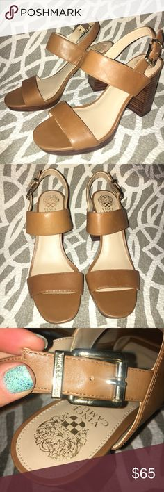 Vince Camuto women's strappy block heel sandals Women's size 9 1/2 brand new without box. Leather toffee color straps with gold clasp detail Vince Camuto Shoes Sandals