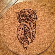 My first attempt at #pyrography a #harrypotter inspired cork trivet for the kitchen. Pretty pleased although the living room stinks of burning cork. by rosie_mary87