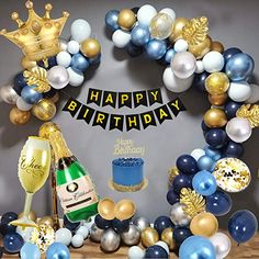 Gold Birthday Cake, Birthday Cakes For Men, Happy Birthday Cake Topper, Happy Birthday Banners, Metallic Balloons, Gold Confetti Balloons, Blue Balloons, Birthday Party Decorations For Adults, Gold Party Decorations