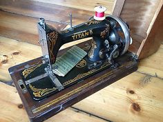 Antique, Winselmann Titan Hand Crank ¾ size Sewing Machine in case, c 1910