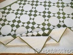 ANTIQUE c1880s Green & White QUILT Exceptional Never Washed Condition