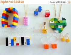 ON SALE Lot of 5 pieces of Jewelry made from by MademoiselleAlma #MademoiselleAlma #LEGO #ETSY