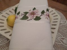 Spring Dogwoods   Hand Cross Stitched Kitchen Towel/Housewarming Gift by CrossStitchbyChris on Etsy