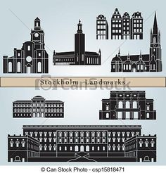 Vectors Illustration of Stockholm landmarks and monuments isolated ...