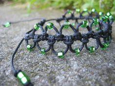 Black Macramé Bracelet with Bright Green Beads
