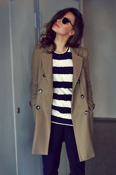 Nautical. Navy. Stripes. Trench. Red lips. Effortlessly prep. What's not to love?