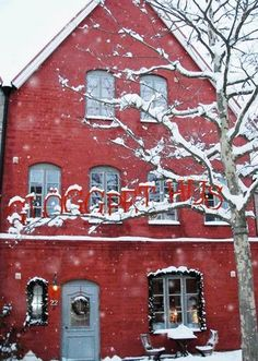 snowy red house