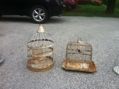 FS: Vintage/Antique/Shabby Chic bird cages for centerpieces/card catcher :  wedding antique bird bird cage centerpiece ceremony diy green ivory love bird reception shabby chic silver teal vintage white yellow Photo10