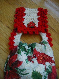 Christmas Crochet Towel Holder with towel