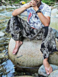 Black Sakura Waves Koi Fish Waist Tied Samurai Pants SM1D