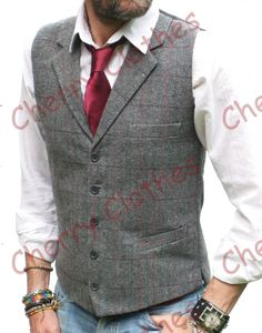 MENS WOOL BLEND TWEED GREY GRAY HERRINGBONE CHECK LAPEL WAISTCOAT VEST ALL SIZES
