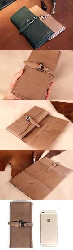 Handmade vintage purse leather wallet long wallet clutch wallet green beige women