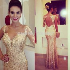 Online Shop 2014 Sweetheart One Long Sleeve Lace Sparkly Golden Gold Sequins Mesh Back Beautiful Prom Dress Fashion Gowns Maxi Long Dress|Aliexpress Mobile