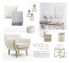 """""""Wood & Creme"""" by nmkratz ❤ liked on Polyvore featuring interior, interiors, interior design, home, home decor, interior decorating, Dot & Bo, Pottery Barn, Sofia Cashmere and Donna Wilson"""