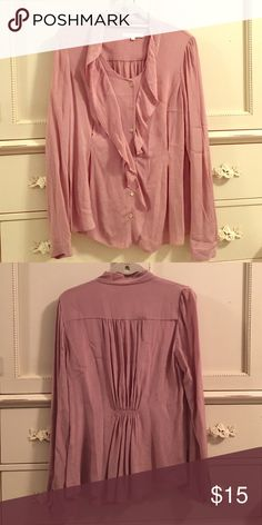Long-sleeve Ruffle Button-Down Blouse From Aritzia - French-inspired clothing with an ethereal and feminine twist. Size medium. Aritzia Tops Button Down Shirts