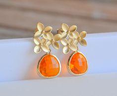 Orange Drop Earrings: Amber Orange Teardrop and Gold Cherry Blossom Stud Earrings. Jewel Fasion Drop Earrings.