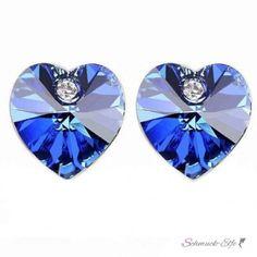1 Paar Ohrstecker Strass Herz Royal blau   im Organza Beutel
