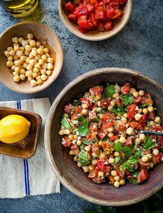 Garbanzo Bean Salad - Garbanzo beans and pepperoni give this pasta salad a kick. Rounded out by fresh herbs like basil and parsley. http://tuttorossotomatoes.com/recipes/detail/garabonzo-bean-salad
