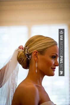 Texas Country Club Wedding from Chris Bailey Photography Jeweled Comb Bridal Updo Hair Ideas Bridal Updo With Veil, Bridal Hair Updo, Wedding Hairstyles With Veil, Wedding Hair And Makeup, Wedding Updo, Hair Makeup, Boho Wedding, Wedding Ideas, Classic Wedding Hair