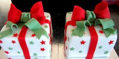 4 Square .Mini Christmas Gift Boxes Cakes Rich Brandy Soaked fruit cake covered in Marzipan and Fondant
