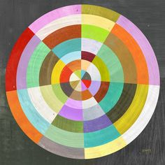 """BULLSEYE GEOMETRY PRINT.  This colorful abstract design is printed on 8.5"""" x 11"""" acid free, satin paper using pigment based inks. The print area is 8"""" x 8""""."""