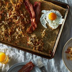 Sheet Pan American Breakfast - cook bacon, hash browns, and eggs in one pan in the oven ; easy