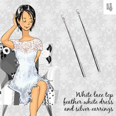 Party Looks # pascualinafashion Party Looks, Lace Tops, White Tops, Silver Earrings, White Dress, Book, Dresses, Women, Style
