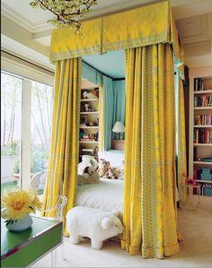 Jacques Grange canopy + colors + book shelves + light | via Stylish Little Girls ~ Cityhaüs Design