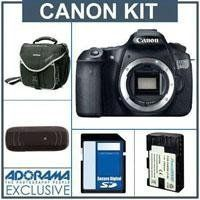 Canon EOS 60D Digital SLR Camera Body Kit, Black - U.S.A. Warranty - with 8GB SDHC Memory Card, Slinger Camera Bag, Spare LP E6 Lithium-Ion Rehargeable Battery, USB 2.0 SD Card Reader by Canon. $1014.00. With the new EOS 60D DSLR, Canon gives the photo enthusiast a powerful tool fostering creativity, with better image quality, more advanced features and automatic and in-camera technologies for ease-of-use. It features an improved APS-C sized 18.0 Megapixel CMOS sensor for trem...