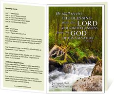 Church Bulletin Templates : River Church Bulletin Template with Psalm 24:5 bible verse, He shall receive the blessing from the Lord.